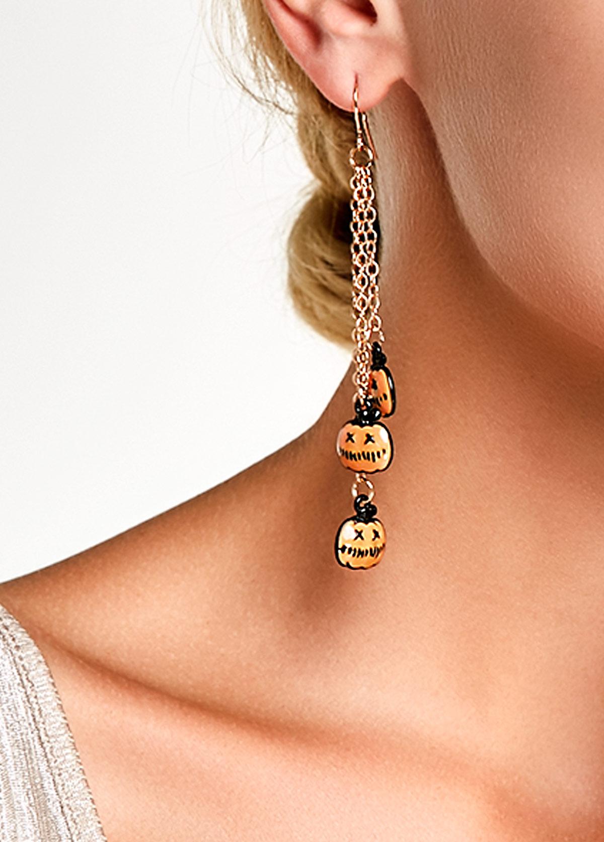Pumpkin Pendant Gold Metal Halloween Earrings