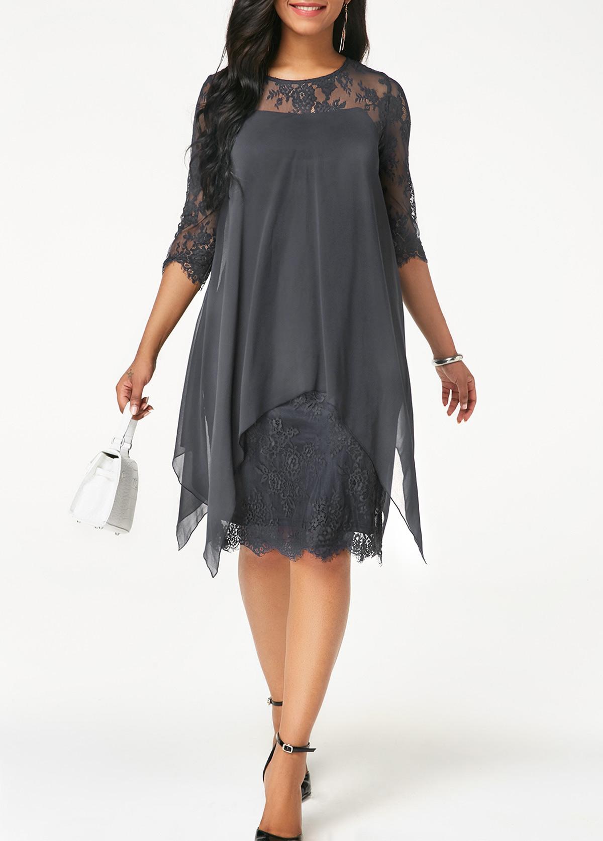 Three Quarter Sleeve Grey Lace Dress