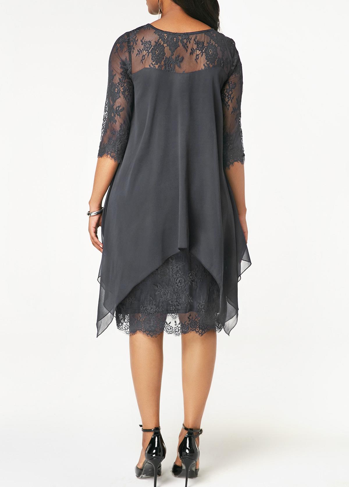 Three Quarter Sleeve Grey Lace Dress  0683ae2d8