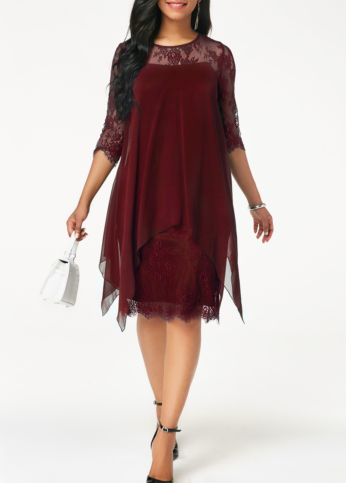 Chiffon Overlay Three Quarter Sleeve Dress