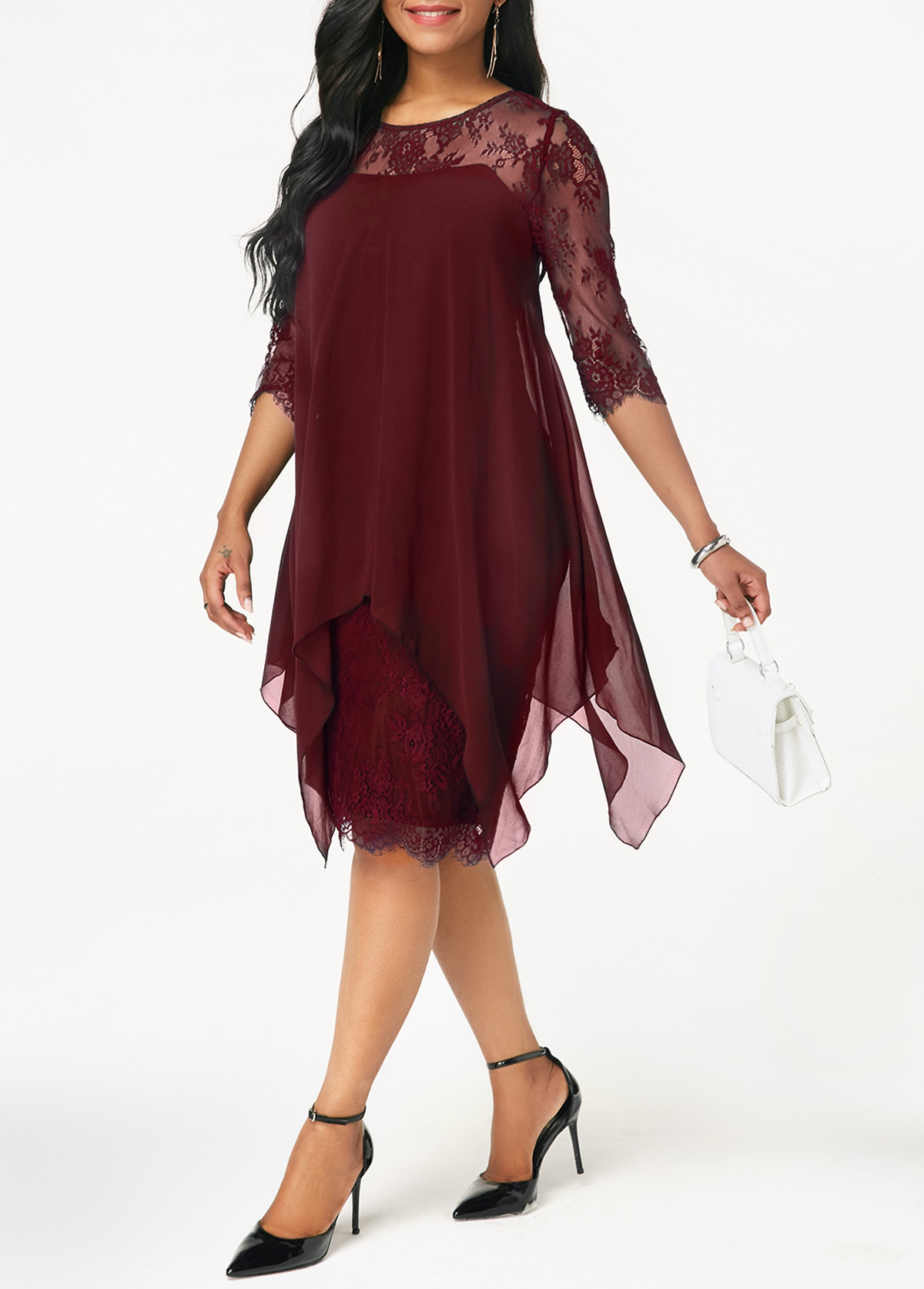 485ff1b4fae4d Chiffon Overlay Three Quarter Sleeve Dress. AddThis Sharing Buttons. Share  to Facebook Share to Pinterest