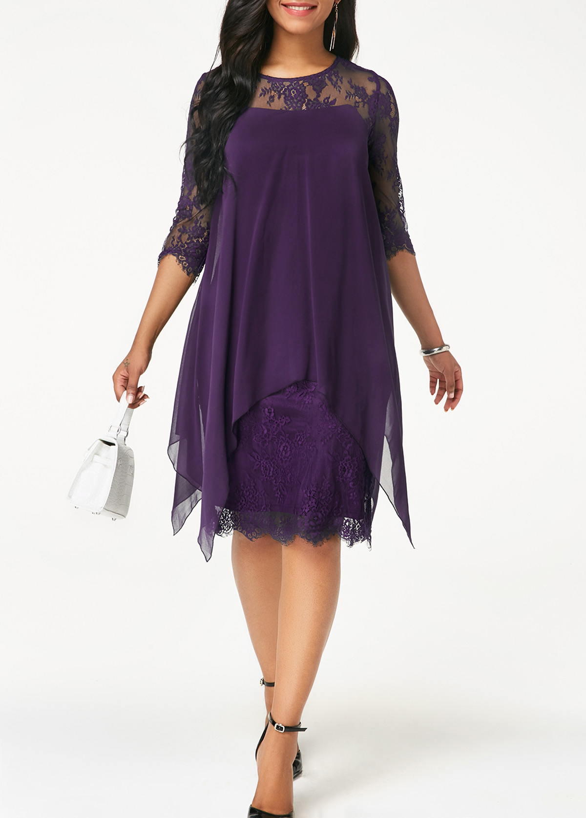 ROTITA Three Quarter Sleeve Purple Lace Dress