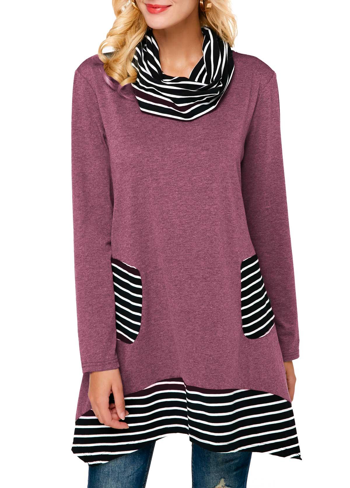 Striped Long Sleeve Cowl Neck Sweatshirt