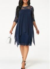 Save 45% on Three Quarter Sleeve Chiffon Overlay Navy Lace Dress