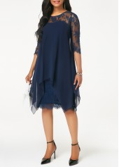 wholesale Three Quarter Sleeve Chiffon Overlay Navy Lace Dress