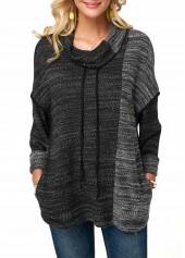 Dark-Grey-Cowl-Neck-Drop-Shoulder-Drawstring-Sweatshirt