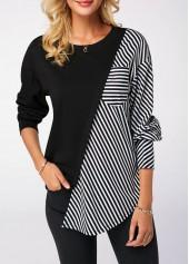 Long-Sleeve-Round-Neck-Striped-Black-Sweatshirt