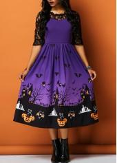 Half-Sleeve-Lace-Panel-Printed-Halloween-Dress