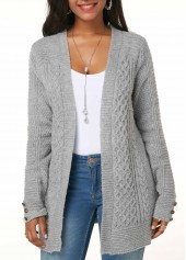 Button Detail Light Grey Cable Knit Cardigan