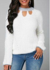 Long Sleeve White Cutout Front Faux Mohair Sweater