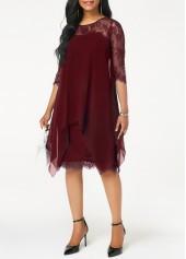 wholesale Chiffon Overlay Three Quarter Sleeve Dress