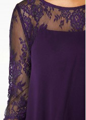wholesale Three Quarter Sleeve Purple Lace Dress
