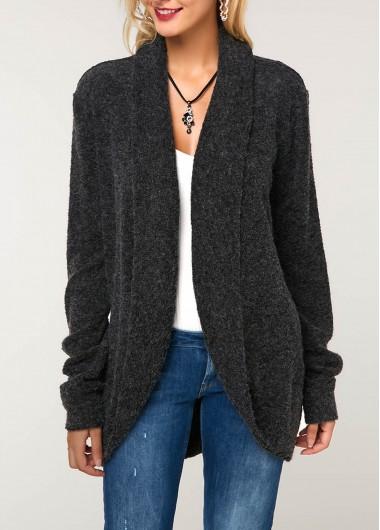 Long Sleeve Curved Hem Dark Grey Knitting Cardigan
