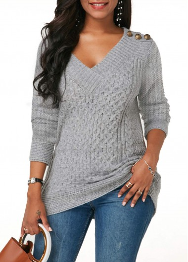 Button Detail Cable Knit Grey V Neck Sweater