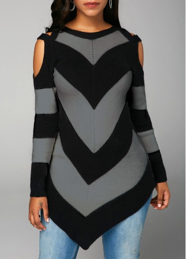 Cold Shoulder Long Sleeve Black Sweater
