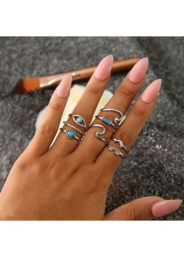Image of 8pcs Silver Metal Turquoise Embellished Rings