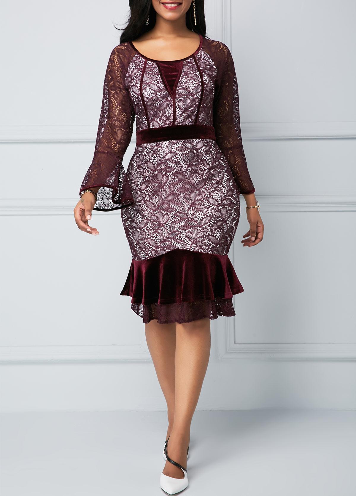 Frill Hem Flare Sleeve Round Neck Lace Dress
