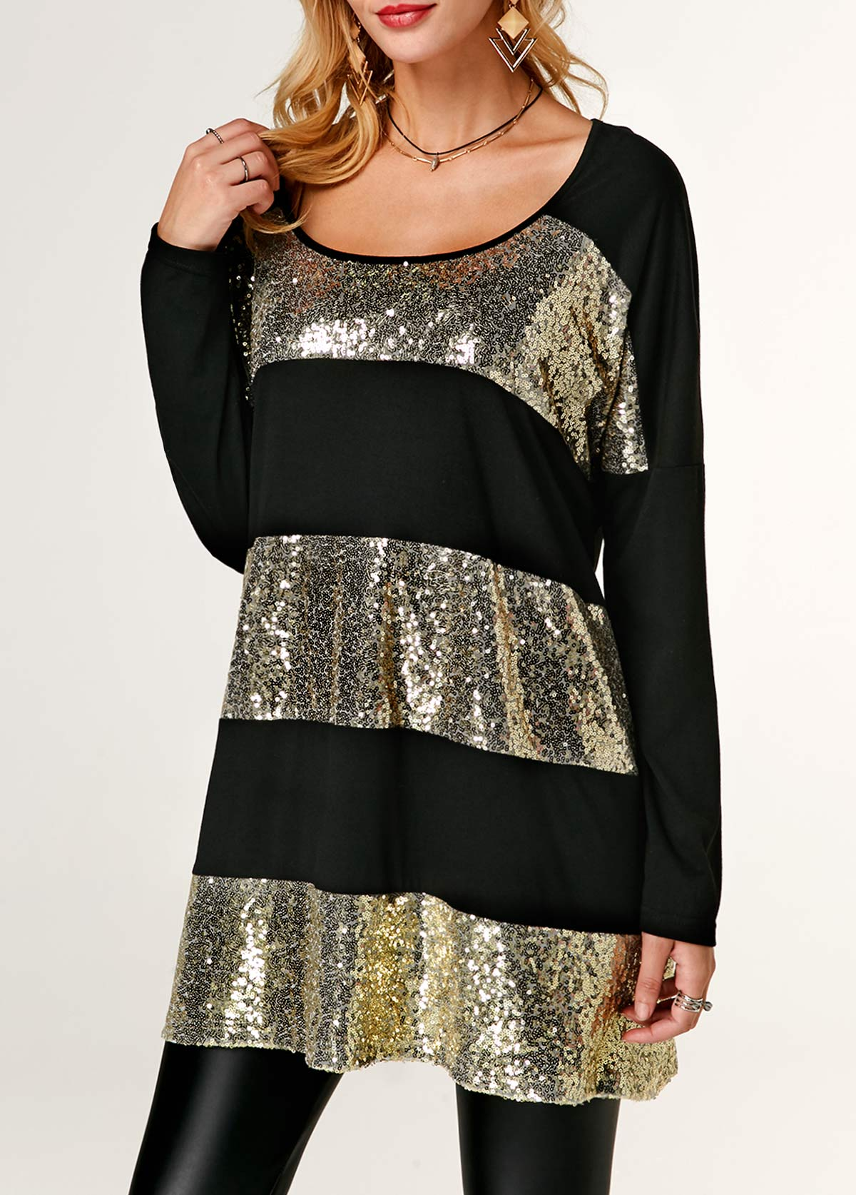 ROTITA Long Sleeve Sequin Embellished Round Neck Blouse