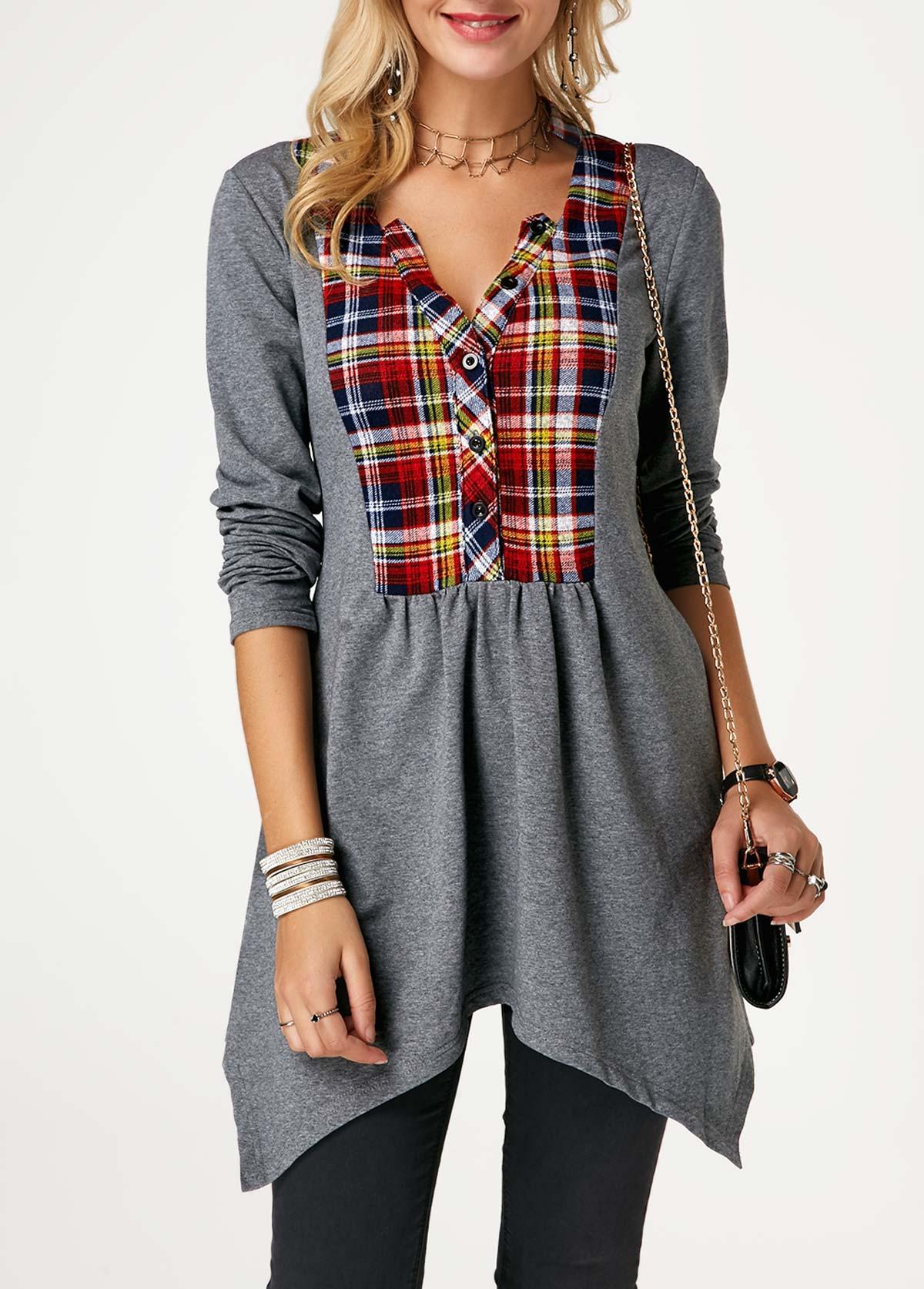 ROTITA Grey Asymmetric Hem Long Sleeve Tunic T Shirt