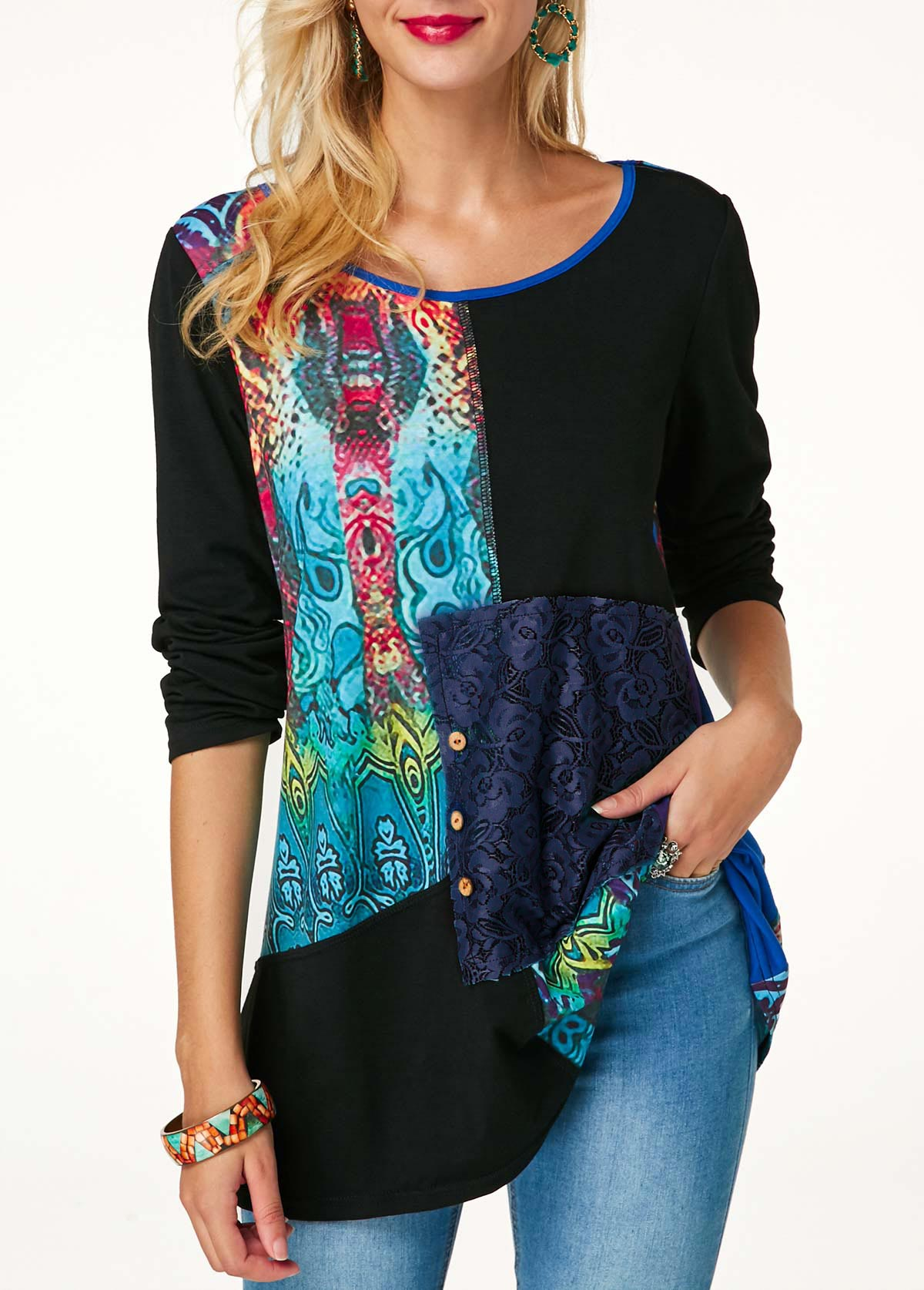 Long Sleeve Printed Button Detail Lace Panel Blouse