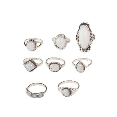 Silver Metal White Rhinestone Decorated Ring Set