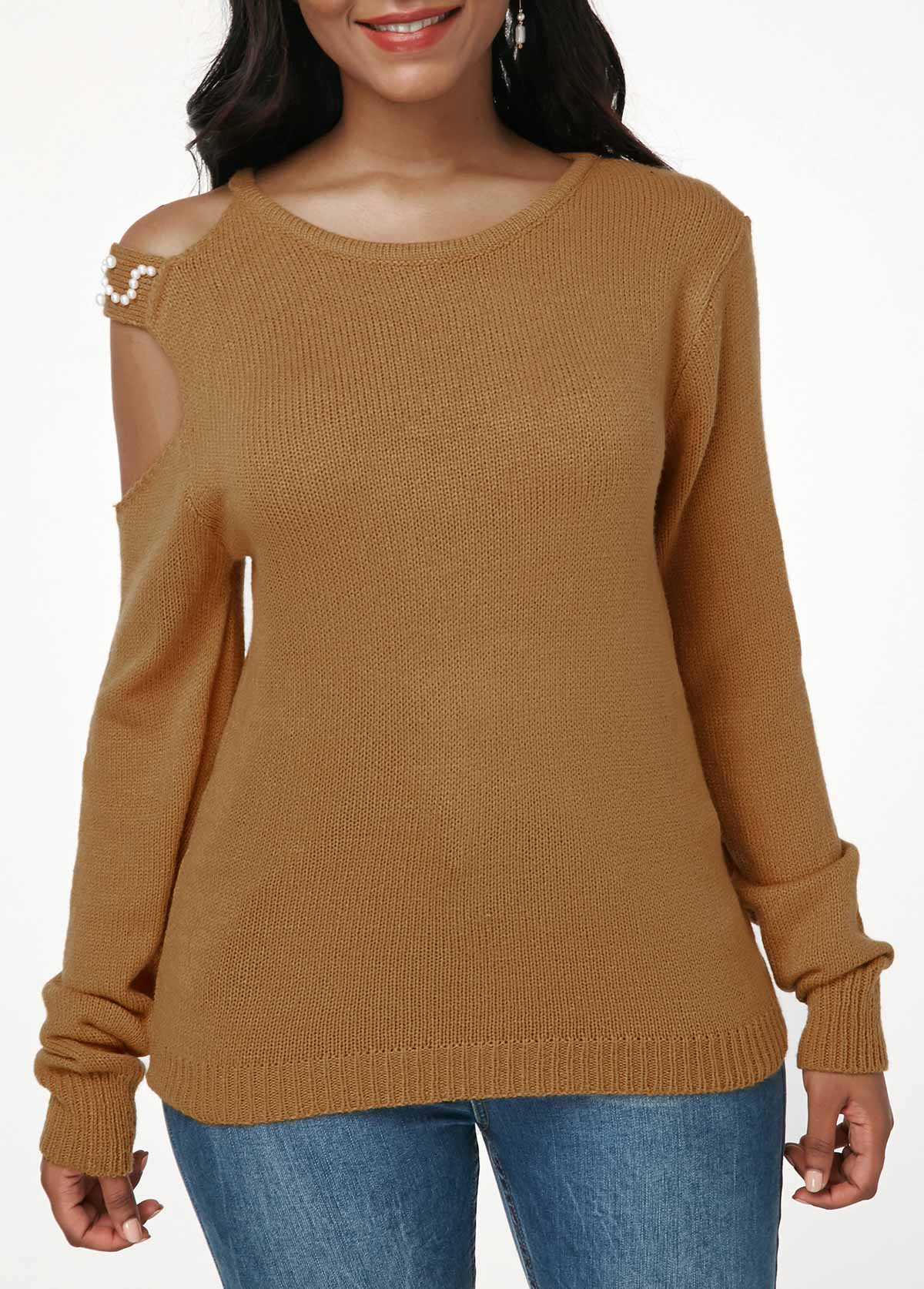 Ginger Faux Pearl Embellished Cutout Shoulder Knitting Sweater