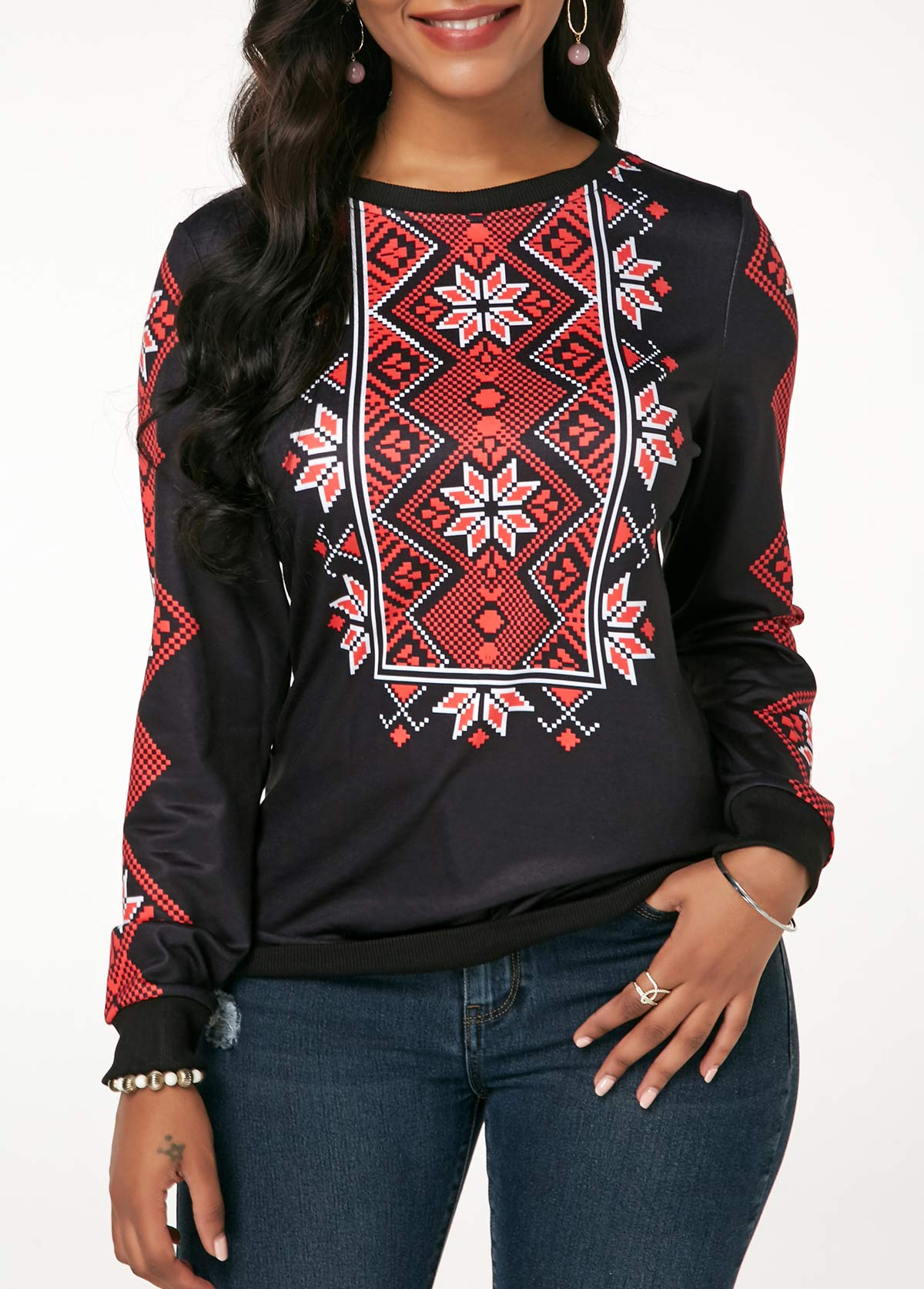 Printed Round Neck Black Long Sleeve Sweatshirt