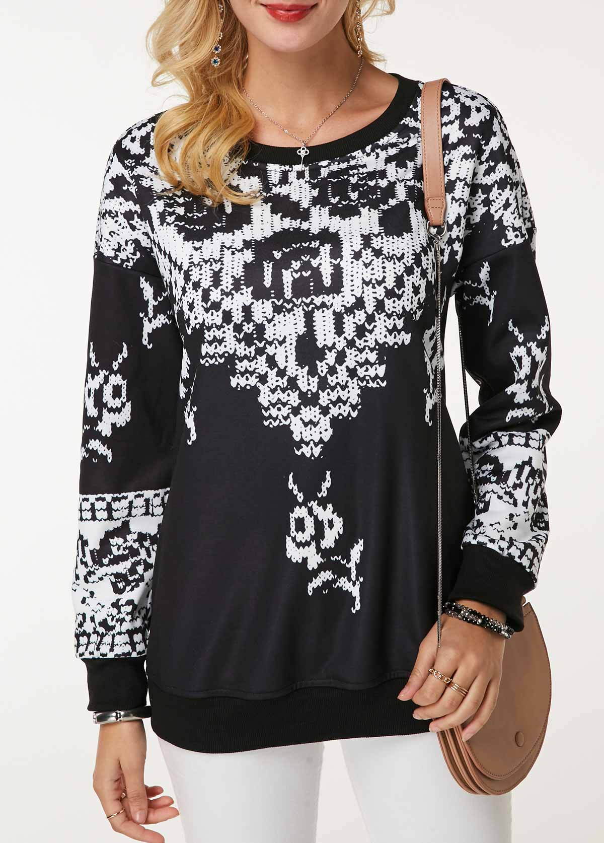 ROTITA Long Sleeve Round Neck Printed Sweatshirt