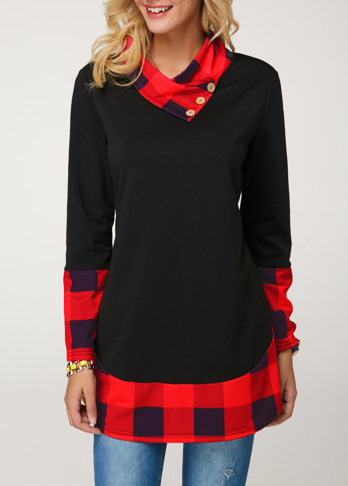 ROTITA Long Sleeve Button Detail Red T Shirt