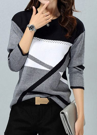 ROTITA Geometric Pattern Round Neck Dark Grey Sweater