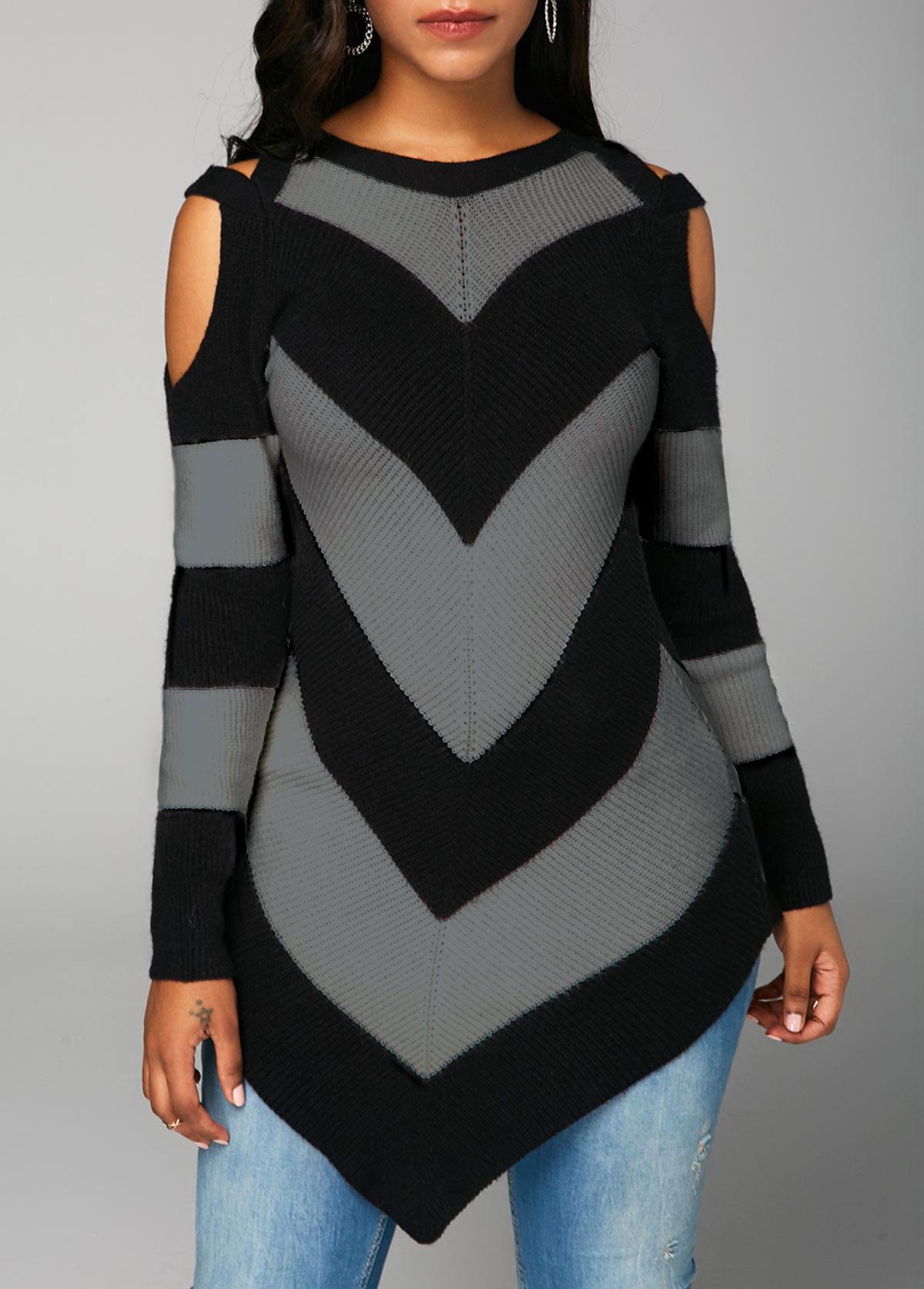 Cold Shoulder Long Sleeve Black Sweater