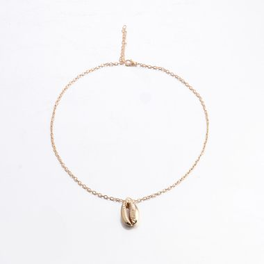 Gold Metal Shell Pendant Necklace for Woman