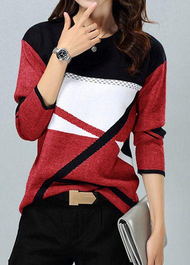 ROTITA Knitting Long Sleeve Round Neck Sweater