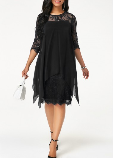 Three Quarter Sleeve Chiffon Overlay Black Lace Dress