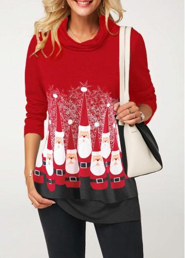 Santa Claus Print Long Sleeve Red T Shirt