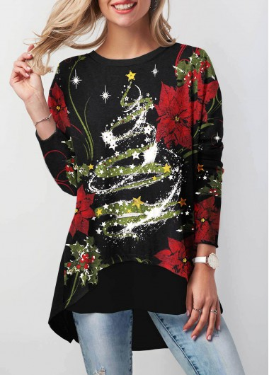 5e508947f1331 Quick Shop. Added Successfully. Christmas Printed Long Sleeve Black Button  Back T Shirt