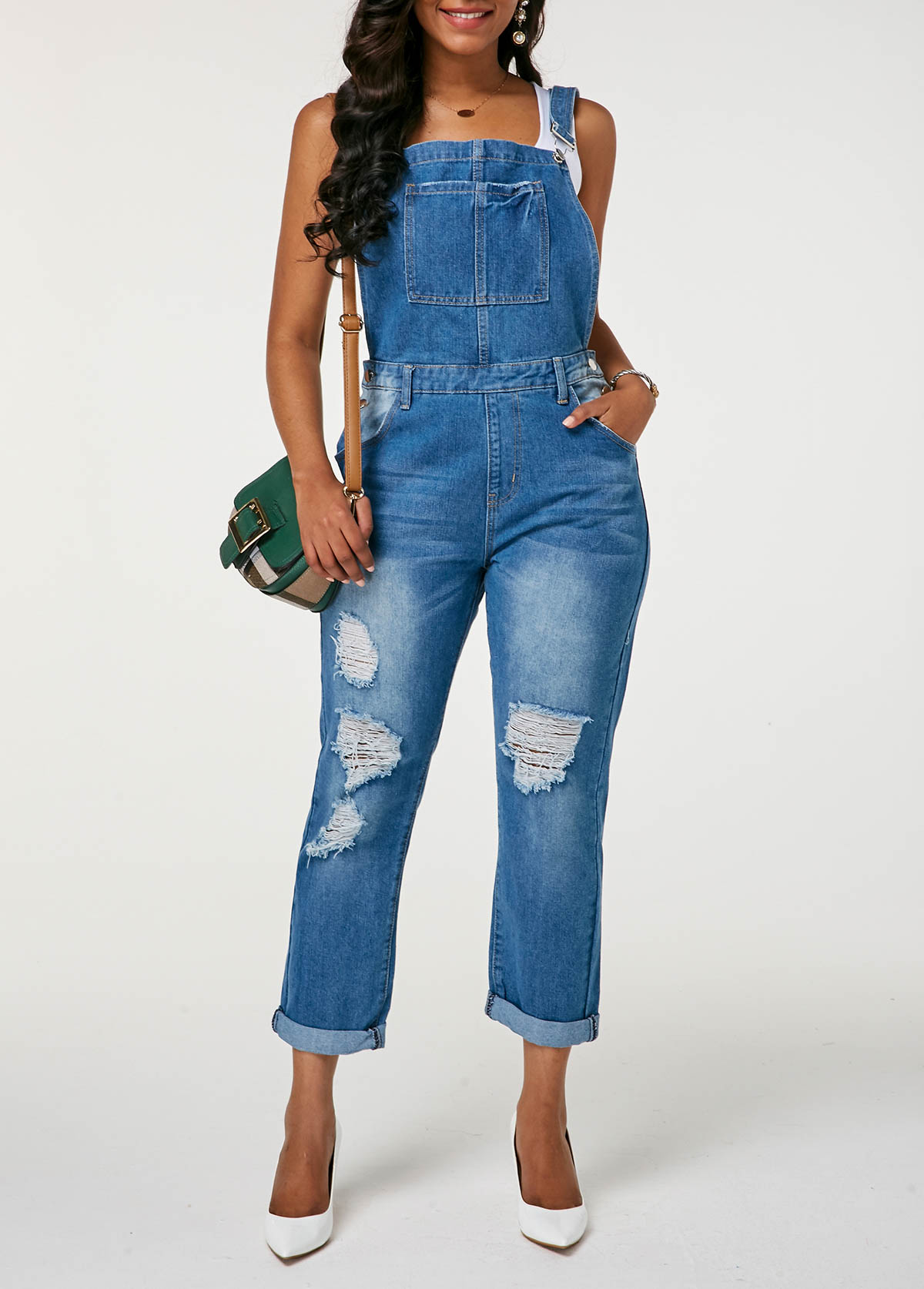 Distressed Pocket Button Detail Denim Jumpsuit