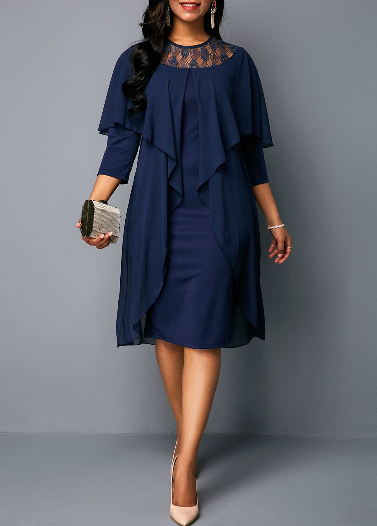Round Neck Three Quarter Sleeve Chiffon Dress
