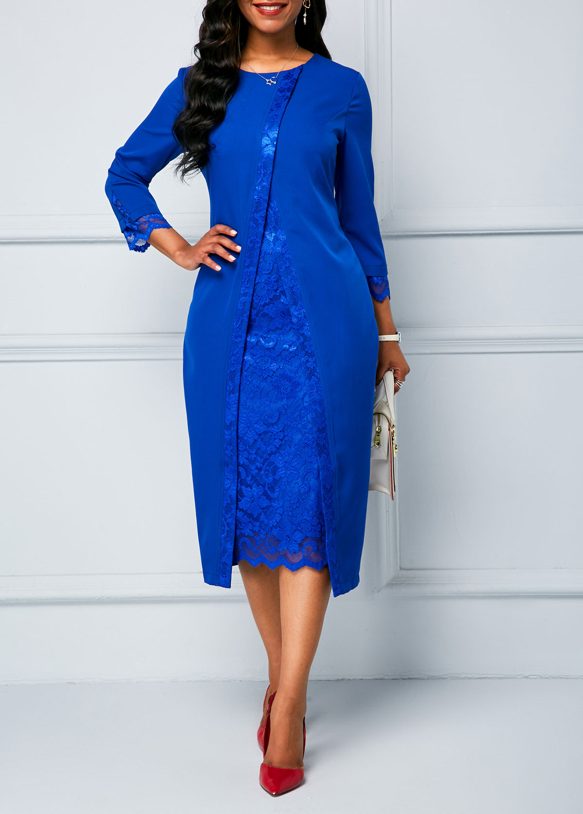 Royal Blue Lace Panel Long Sleeve Sheath Dress
