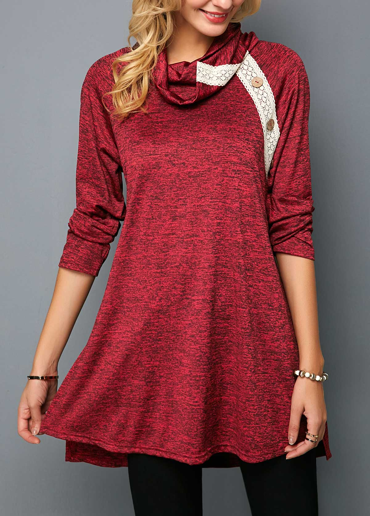 Cowl Neck Button Detail Wine Red Tunic T Shirt