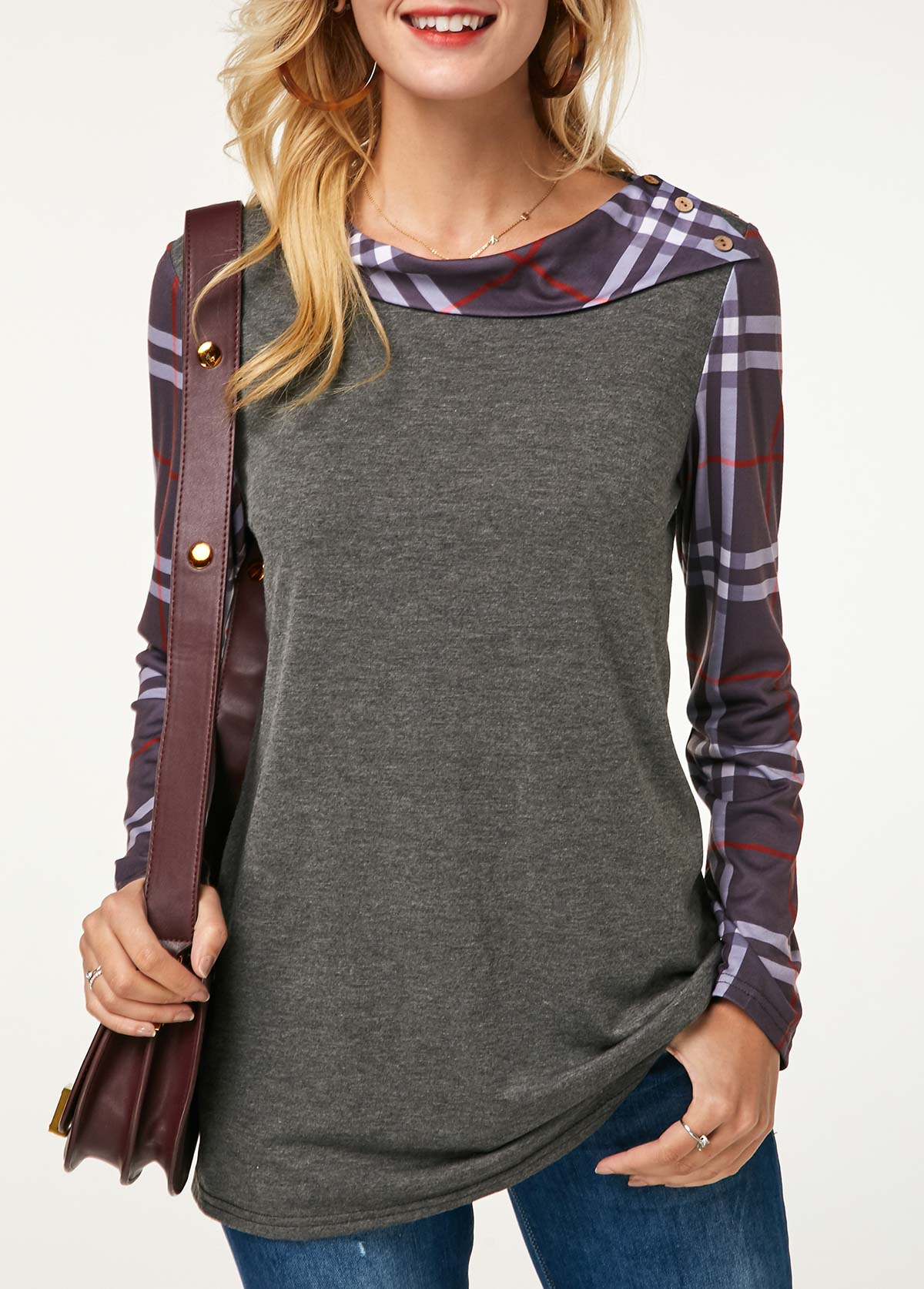 Plaid Print Button Detail Long Sleeve Grey Sweatshirt
