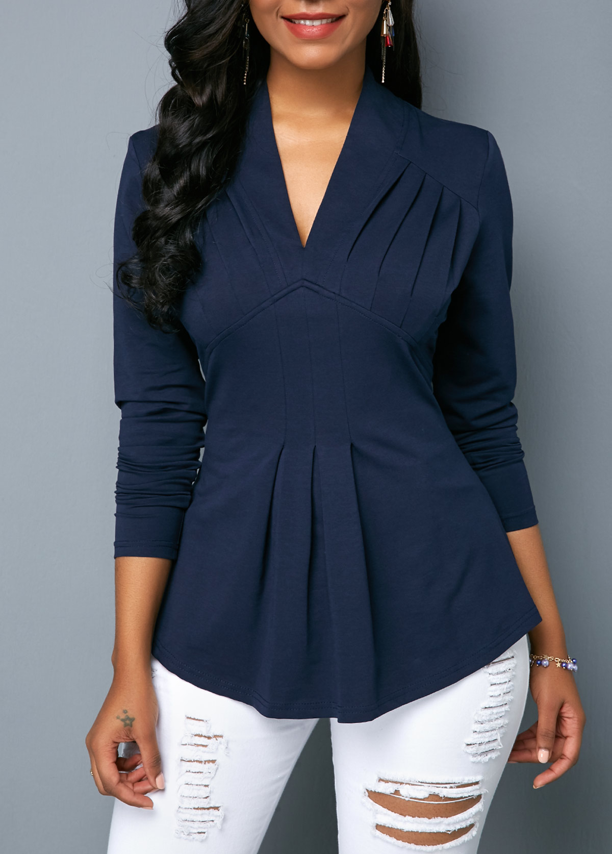 V Neck Long Sleeve Navy Blouse