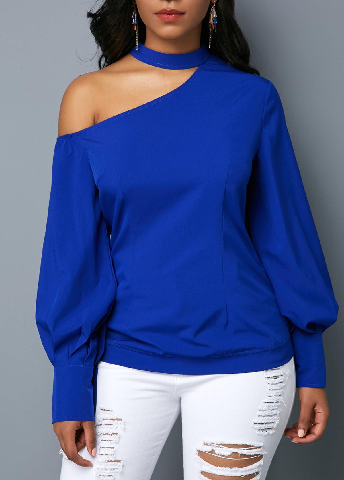 Royal Blue Long Sleeve Cutout Shoulder Blouse