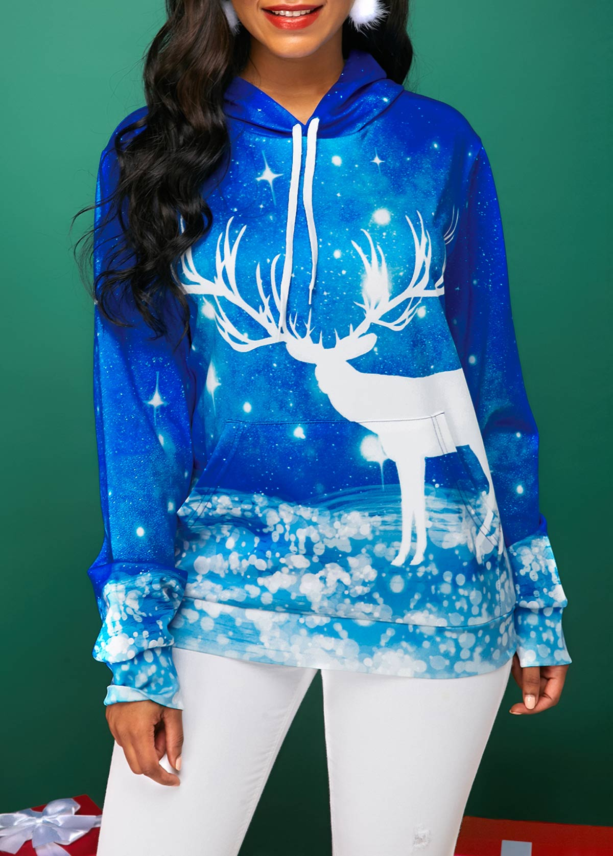 Christmas Royal Blue Kangaroo Pocket Elk Print Hoodie