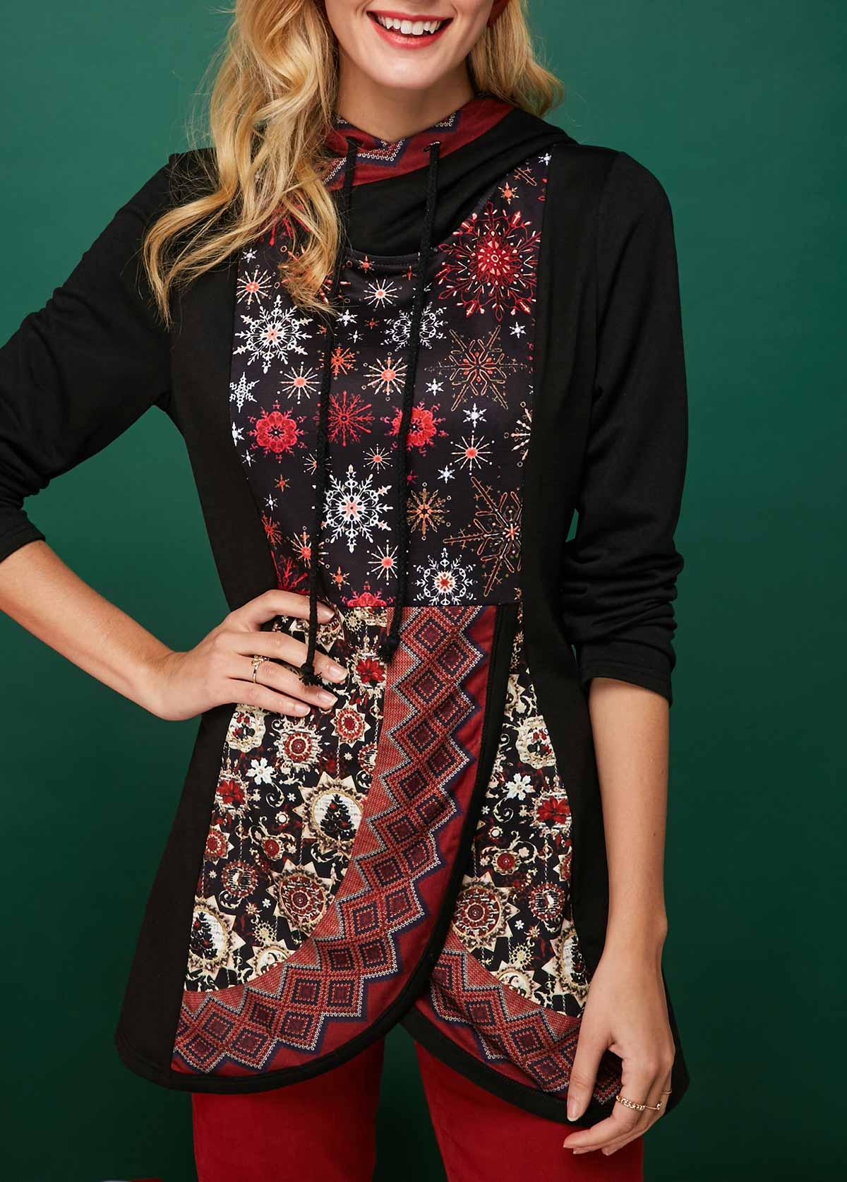 Tulip Hem Snowflake Print Long Sleeve Christmas Hoodie