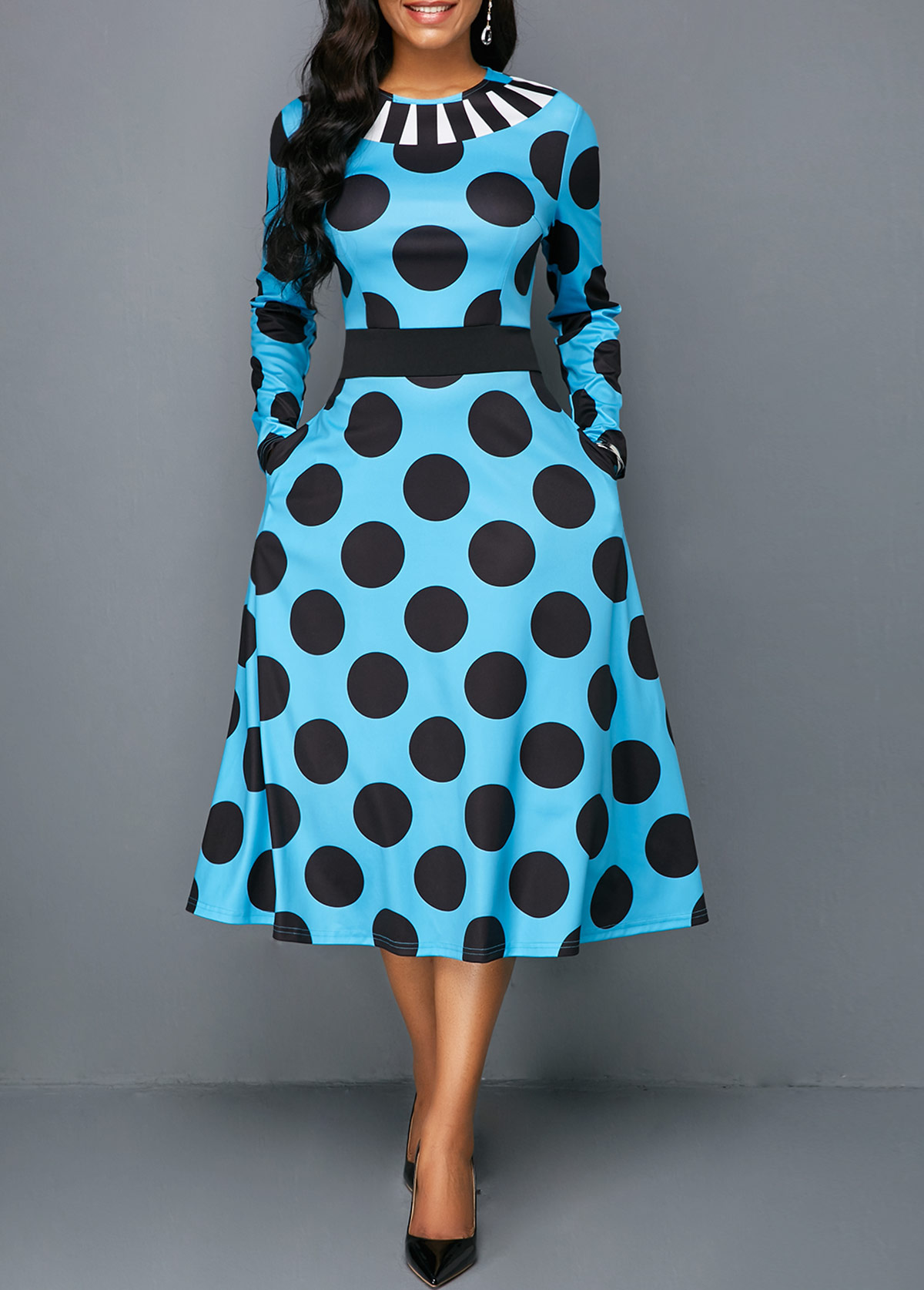 Polka Dot Print Long Sleeve Pocket Midi Dress