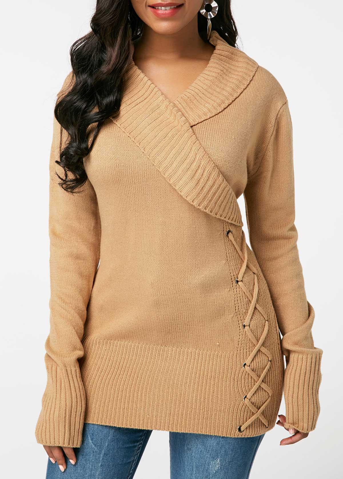 Lace Up Detail Khaki V Neck Sweater