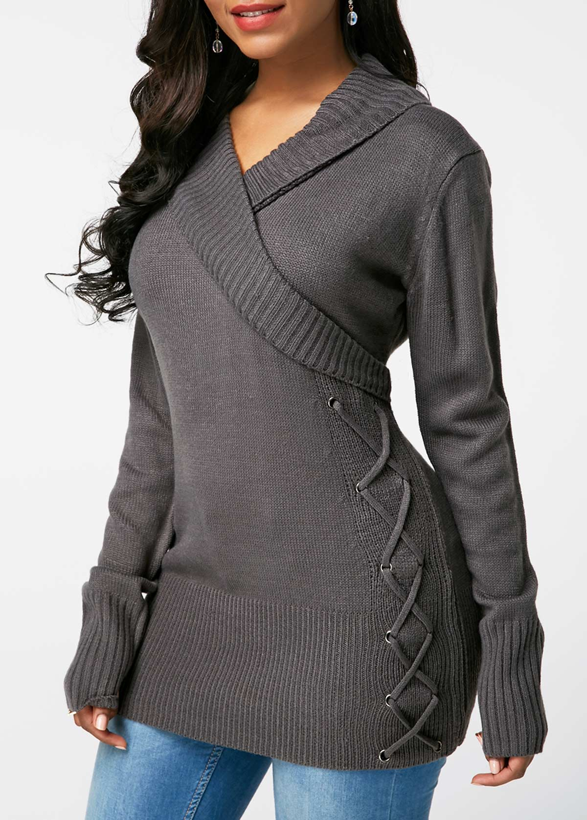 V Neck Dark Grey Lace Up Detail Sweater