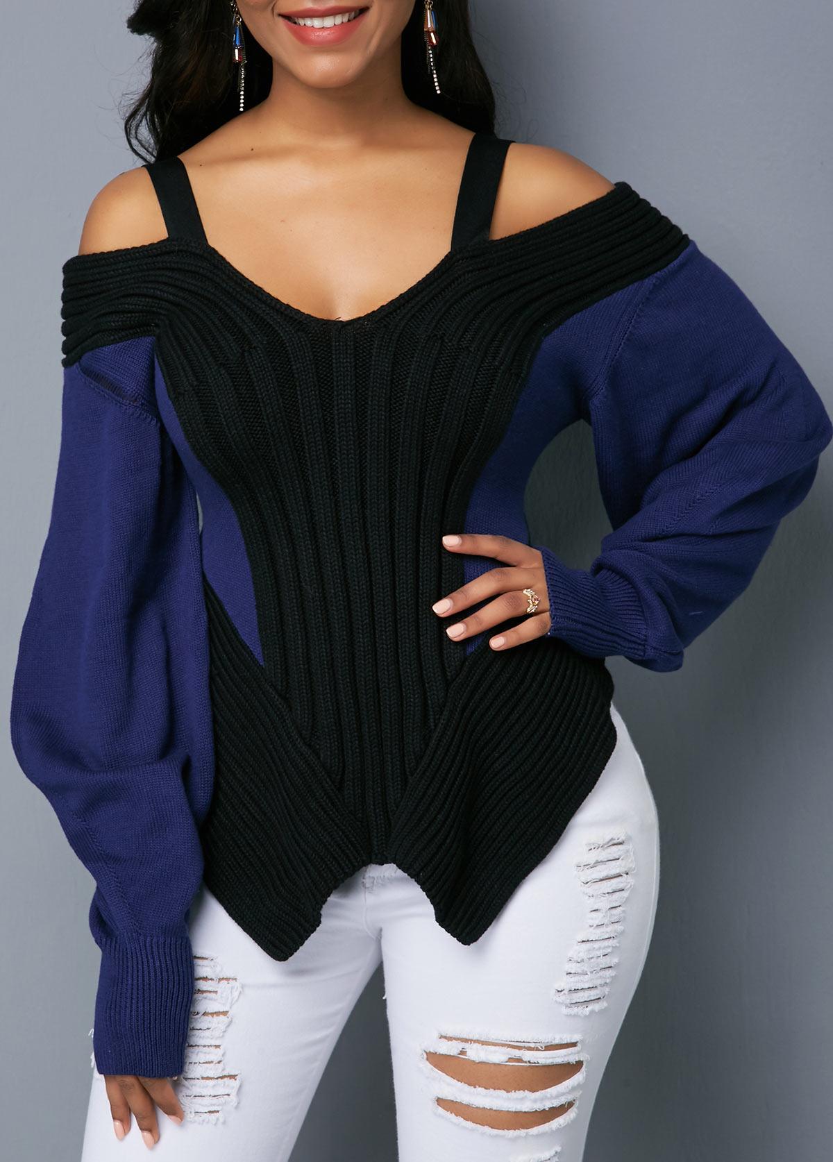 ROTITA Strappy Cold Shoulder Lantern Sleeve Asymmetric Hem Sweater