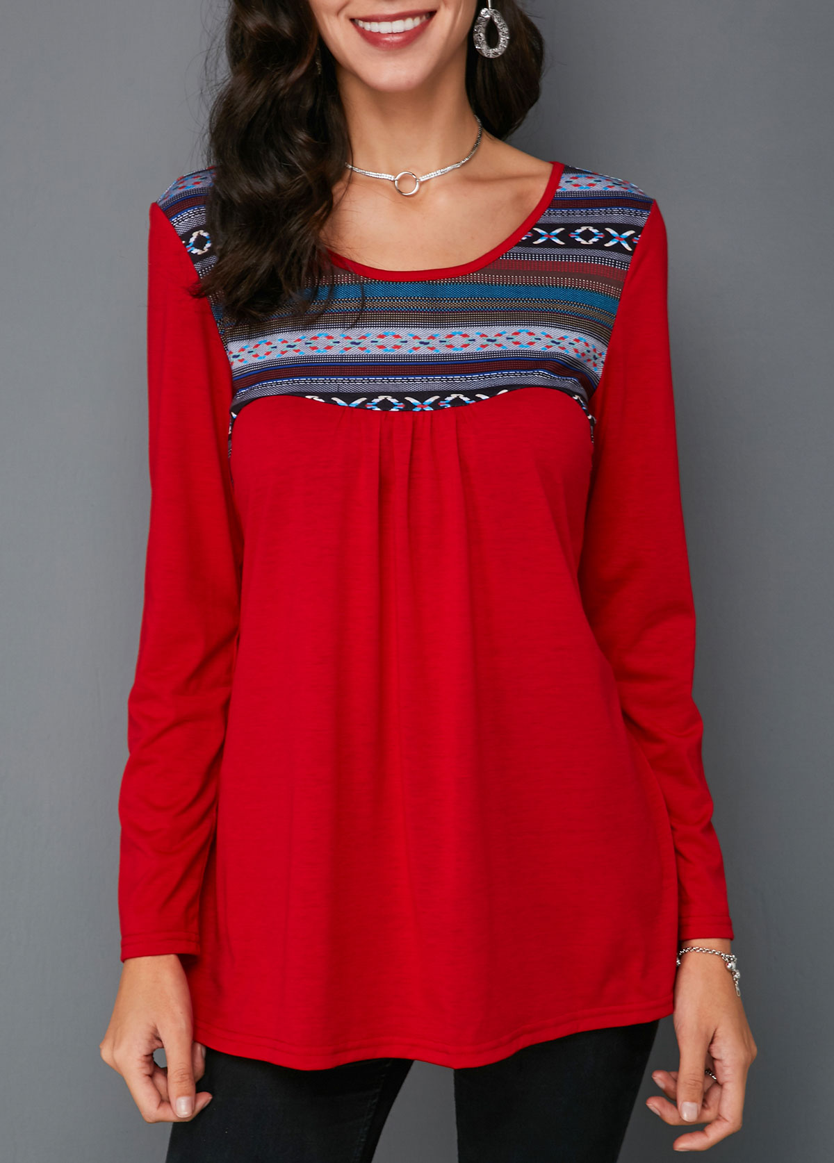 Round Neck Red Long Sleeve Printed T Shirt